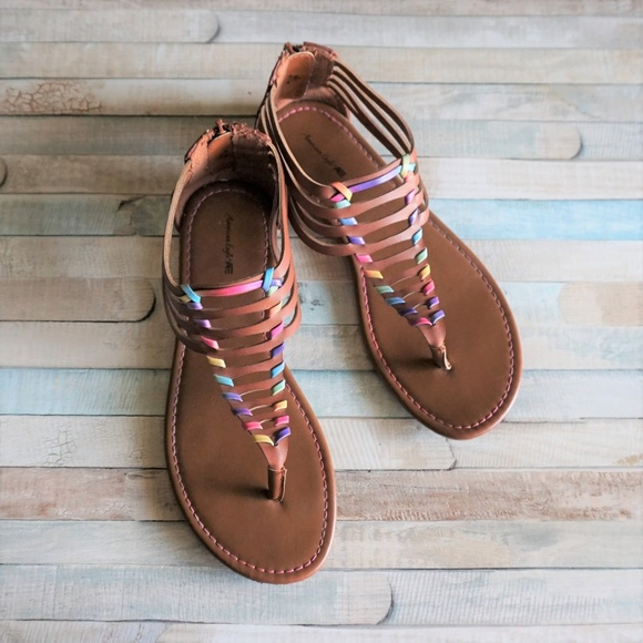 American Eagle Outfitters Shoes - AE Faux Leather Rainbow Woven Boho Sandals 7.5